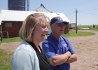 Maria Flor and her father, Randy Therkilsen on the family farm.
