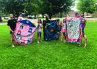 Springfield Girl Scout Troop #37883 spent a day making fleece blankets to donate to the Springfield Area Lions Club fleece blanket drive.