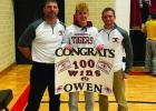 Congratulations Owen Bertram! On Friday, January 10 Owen Bertram marked his 100th career win during a wrestling match at BOLD. Earlier in the week Owen recorded his 50th career Pin. Congratulating Owen is his dad, Tiger Coach Todd Bertram and Coach Luke Amsden.