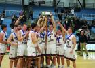 The Tigers celebrate their 70-66 win over WEM to capture the Section 2A South Championship title.