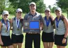 Pictured from left:  Anna Plotz, Mackenzie Lothert, Coach Dillon Schultz, Makenna Winkelmann and LaCole Weisensel.  Makenna Winkelmann was the girls section champion at the North Links Tourney.